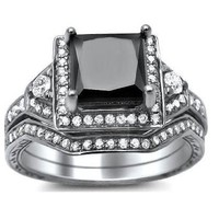 1.90ct Princess Cut Black Diamond Engagement Ring Bridal Set 14k White Gold