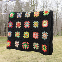 """Crochet blanket afghan throw with colorful granny squares and black border - Vintage cottage chic decor Farm house style 52"""" x 40"""""""
