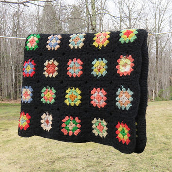 "Crochet blanket afghan throw with colorful granny squares and black border - Vintage cottage chic decor Farm house style 52"" x 40"""