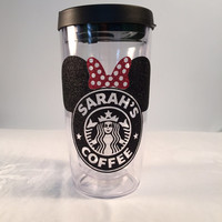 Black & Red Starbucks * Minnie Mouse * Latte  or coffee 16 oz.  or 24 oz. Personalized Glitter Tumbler for Hot or Cold Beverages.