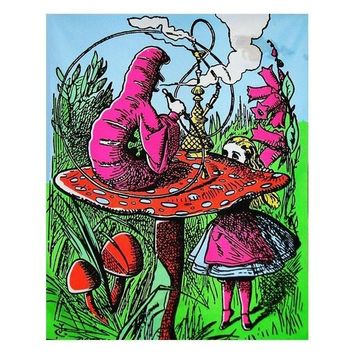Alice in Wonderland Mushroom Caterpillar Blacklight Reactive Cloth Wall Hanging Tapestry