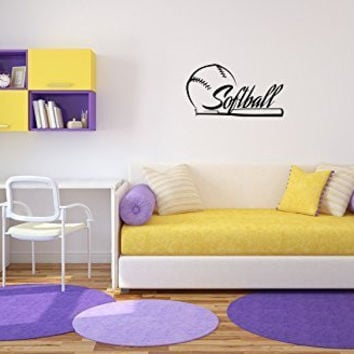 Softball Vinyl Wall Words Decal Sticker Graphic