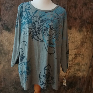 Style & Co Plus Size Knit Shirt 3X Cotton Heather Grey / Blue Embellished