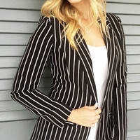 Black & White Stripe Blazer
