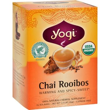 Yogi Organic Herbal Tea Caffeine Free Chai Rooibos - 16 Tea Bags - Pack of 6