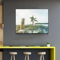 Pineapple on an Island Kitchen and Dining Room Wall Decor Canvas Set