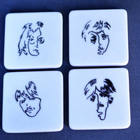 Marble coasters hand carved natural stone The Beatles design collector set