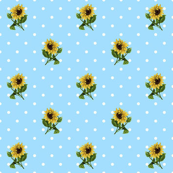Digital Scrapbooking Paper Set – Vintage Retro Sunflower Pattern on Soft Pastel Polka Dot Backgrounds  INSTANT DOWNLOAD