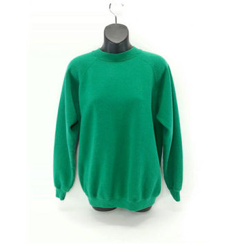 Vintage Green Crewneck Sweatshirt, Large, Solid Color, Hanes, Vintage Clothing, 90's Clothing, Vintage Womens Clothing, Fall Fashion