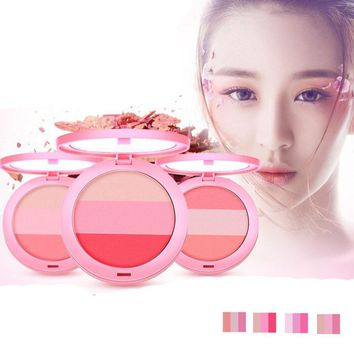 Beauty Face 3 Color Blush Makeup Baked Cheek Blusher Palette