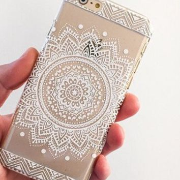 save off 76a2a 2fc83 iPhone 6S Case,iPhone 6 Case,Hundromi iphone 6 6S Plastic Transparent Clear  Case Cover Henna Full Mandala Floral Dream Catcher for iPhone ...