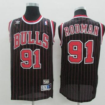 Best Deal Online Mitchell & Ness Hardwood Classics NBA Basketball Jerseys Chicago Bulls #91 Dennis Rodman Black Red