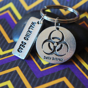 Zombie Outbreak Bio Hazard Symbol and Walking Dead Keychain