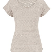 Shimmering Open Lace Top - Beige