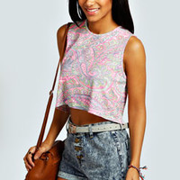 Thandie Neon Paisley Crop Swing Vest