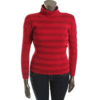 INC Womens Ribbed Knit Metallic Turtleneck Sweater