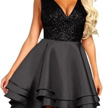 Heart Broken Black Sequin Multi Layer Cocktail Party Skater Dress