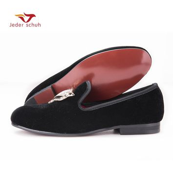 Jeder Schuh NewStyle Men Velvet Shoes with Fox Rhinestone buckle Wedding Loafers Smoking Slipper Men Flats Size US 6-14
