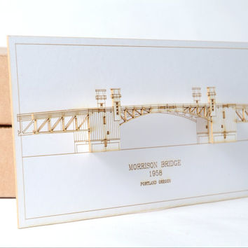 Portland Oregon Morrison Bridge  - Laser Cut Card - Portland Oregon