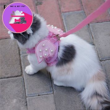 Gomaomi Adorable Comfort Cat & Dog Pet Safety Walking Vest Harness + Matching Lead Leash Angel Wings Costume Lace Peals Design