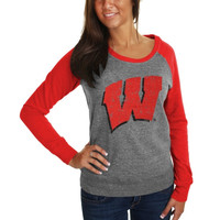 Wisconsin Badgers Ladies Wordmark Tri-Blend Raglan Sweatshirt - Ash/Cardinal