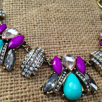 Bumble Bee Inspired Statement Necklace (Aqua and Magenta)