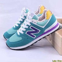 New Balance Fashion Women Men Casual All-Match N Words Breathable Couple Sneakers Shoes Lake Blue