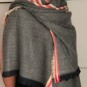 Super soft striped blanket scarf, gray scarf with red stripes, your best companion is cold fall and winter days, 2016 fall winter fashion.