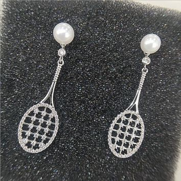 New autumn and winter silver pearl earrings hollow micro inlaid tennis racket earrings