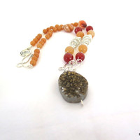 Carnelian tribal necklace, druzy agate and solid sterling silver statement necklace, gift for her