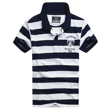 DCCKKFQ Men's Polo Shirt 2018 summer New Male Short Sleeve cotton Fashion Striped Polo Shirts Embroidered tops
