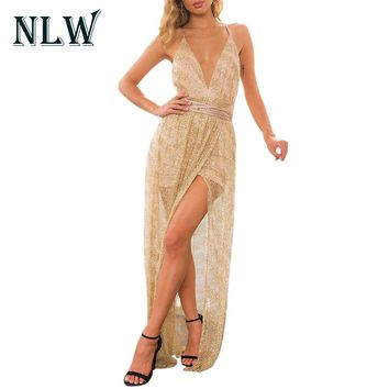 NLW Gold Sexy Deep V Dress Shine Sequin Backless Lace Up Maxi Mesh Dress Summer 2017 Womens Elagent Party Night Dress Vestidos