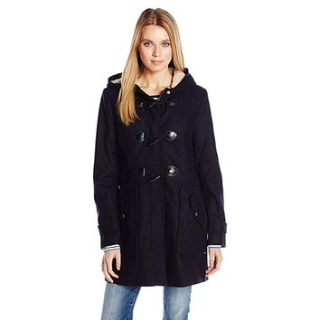 Tommy Hilfiger Women's Toggle Wool Coat with Sherpa Lined Hood