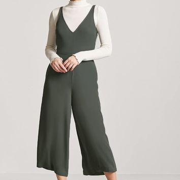 Plunging Wide-Leg Jumpsuit