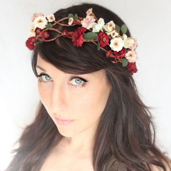 Flower Crown, Wedding Headpiece, Bridal Tiara, Hair Flower - CHIME - by DeLoop red, pink, boho