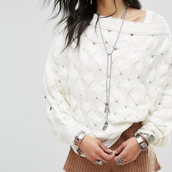 Free People Desert Sands Cable Pullover Sweater at asos.com