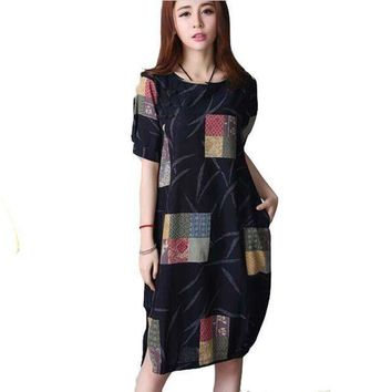 ESBONC. Summer new arrival 2016 women linen loose print o-neck plus size vintage short sleeve knee-length dress BL1465