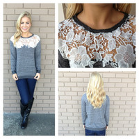 Grey Lace Dolly Sweater Top