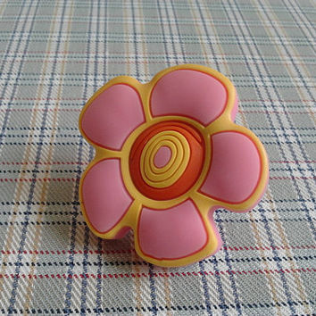Soft Girls Baby Knobs Sunflower Pink Yellow Orange / Kids Flower Cute Funny Knobs / Baby Cartoon Knobs / Cabinet DRAWER Pulls Handles