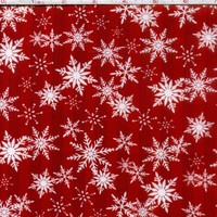 1/2 Yard Quilt Fabric Holiday Sparkle Snowflakes Christmas White Red
