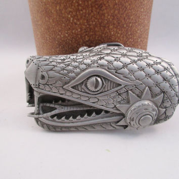 Snake Belt Buckle. Solid Pewter. free shipping -FL