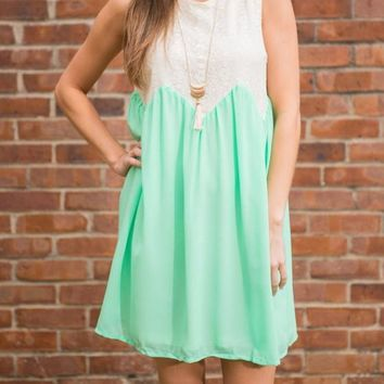 Streetstyle  Casual Light Green Patchwork Lace Pleated Round Neck Sleeveless Mini Dress