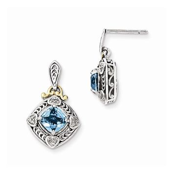 Antique Style Sterling Silver with 14k Gold Diamond & Blue Topaz Earrings