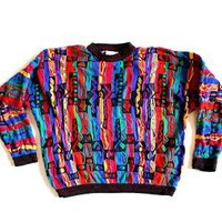 Lightweight Bright Coogi Textured Cosby Style Tacky Ugly Sweater Men's Size Medium (M)
