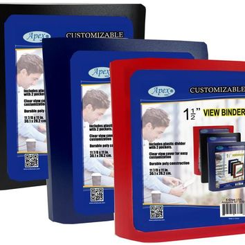 """1.5"""" View Binders - Assorted Colors - CASE OF 24"""