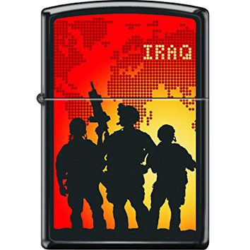 Zippo Custom Design Military Soldiers Iraq Reg Blk Matte Windproof Collectible Lighter. Made in USA Limited Edition & Rare