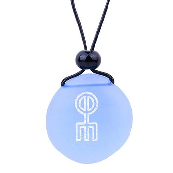 Amulet Frosted Sea Glass Stone Norse Rune Love Spell Charm Good Luck Powers Sky Blue Adjustable Necklace