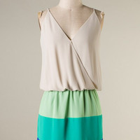 Block and Awe Dress - Oyster and Green - Hazel & Olive