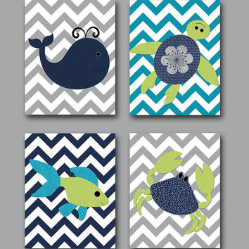 Sea Nursery Decor Fish Crab Turtle Whale Nursery Decor Baby Nursery Print Kids Art Childrens Art Print set of 4 8X10 Navy Gray Green Teal