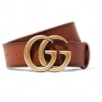GUCCI New fashion classic couple leather belt double smooth metal buckle belt